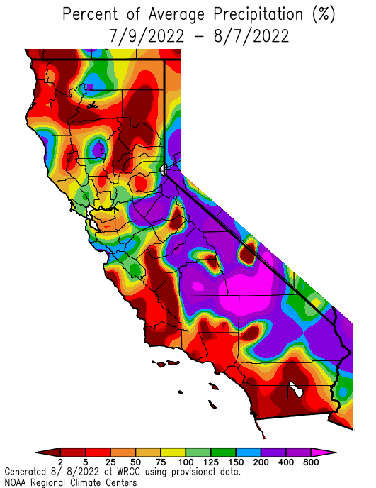 California 30 day precipitation anomaly