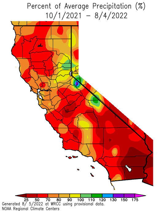 California precip anomaly since Oct 1