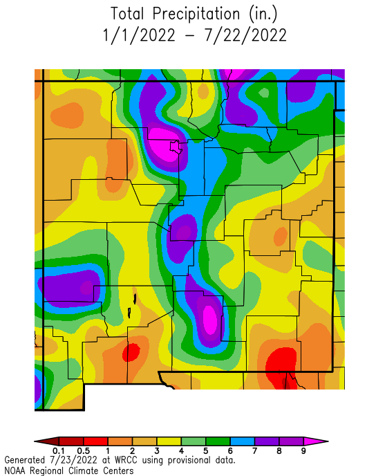 NM precipitation departure from normal since Jan 1