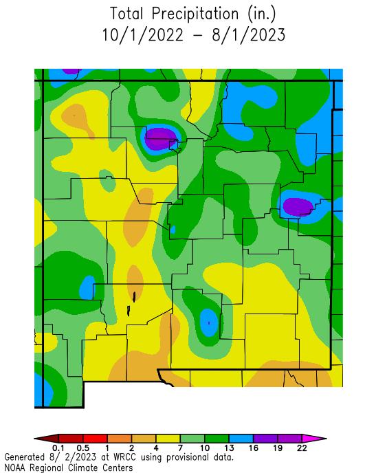 NM Total precipitation since Oct 1