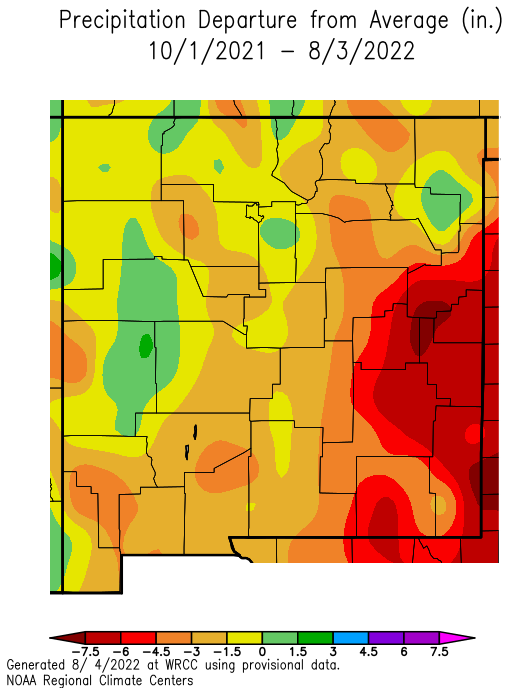 NM precipitation departure from normal since Oct 1