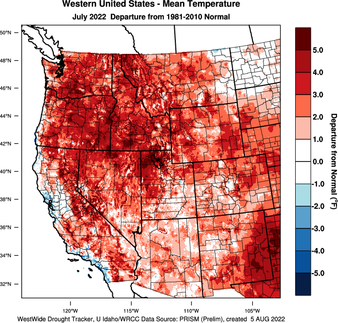 Western Temps Departure from Normal
