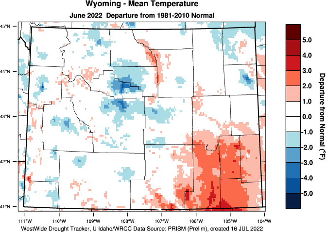 Wyoming: Last Month Departure from Normal Temperature