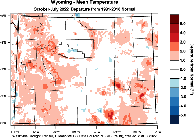 Wyoming: 2014-2015 Water Year Departure from Normal Temperature