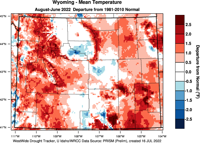 Wyoming: Water Year 2017-18 Departure from Normal Temperature