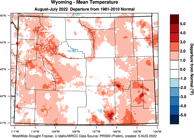 Wyoming: Last 12 Months Departure from Normal Temperature