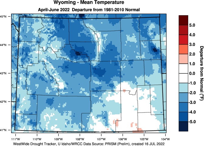 Wyoming: Last 3 Months Departure from Normal Temperature