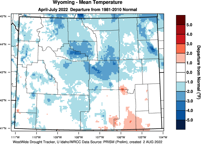 Wyoming: 2019 Departure from Normal Temperature