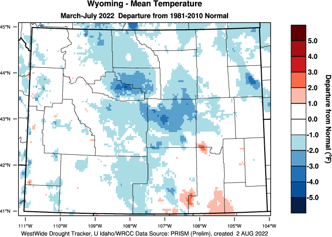 Wyoming: Water Year 201819 Departure from Normal Temperature