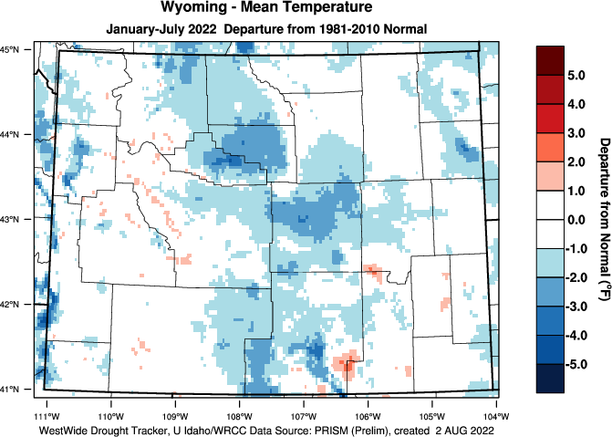 Wyoming: 2015 Departure from Normal Temperature