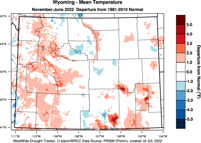 Wyoming: 2018 Departure from Normal Temperature