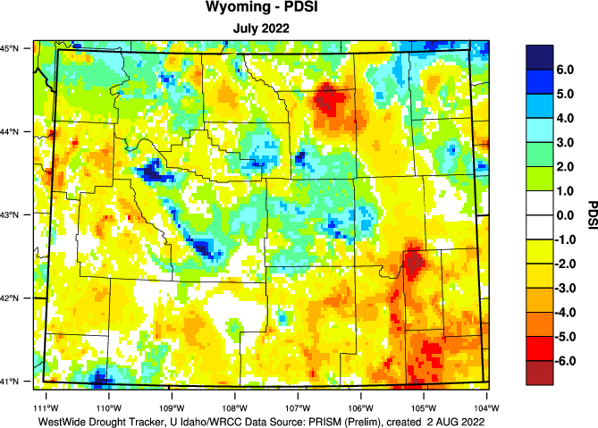 Palmer (long-term) Drought Index - Click to Enlarge