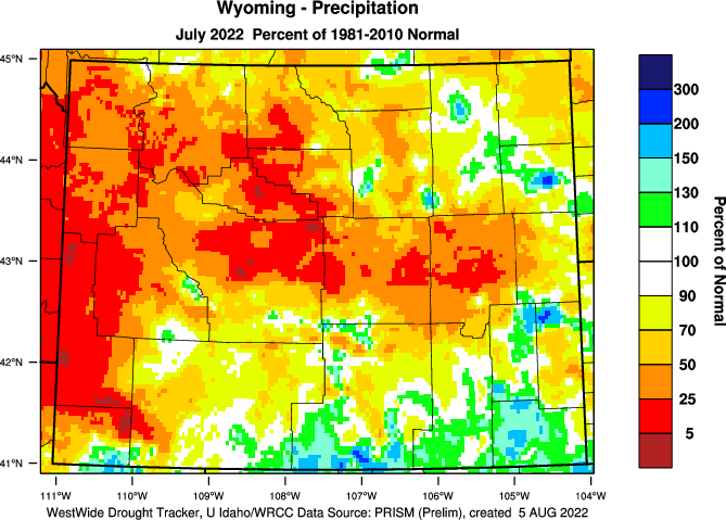 Wyoming: Last Month Percent of Normal Precipitation