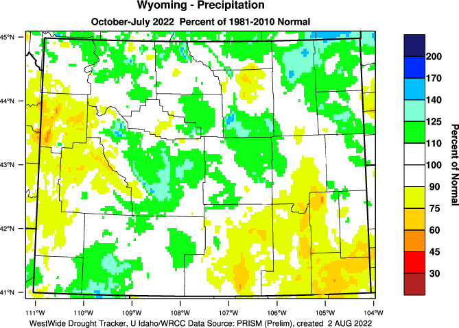 Wyoming: 2014-2015 Water Year Percent of Normal Precipitation
