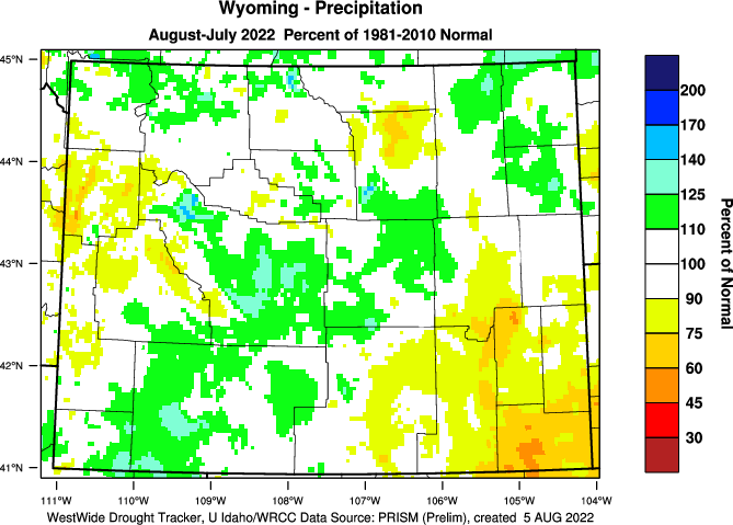 Wyoming: Last 12 Months Percent of Normal Precipitation
