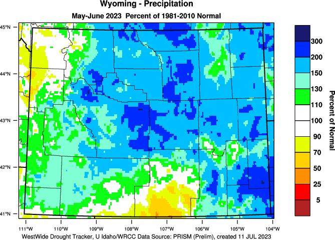 Wyoming: 2019 Percent of Normal Precipitation