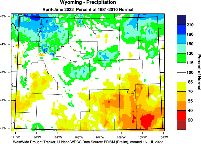 Wyoming: Last Three Months Percent of Normal Precipitation