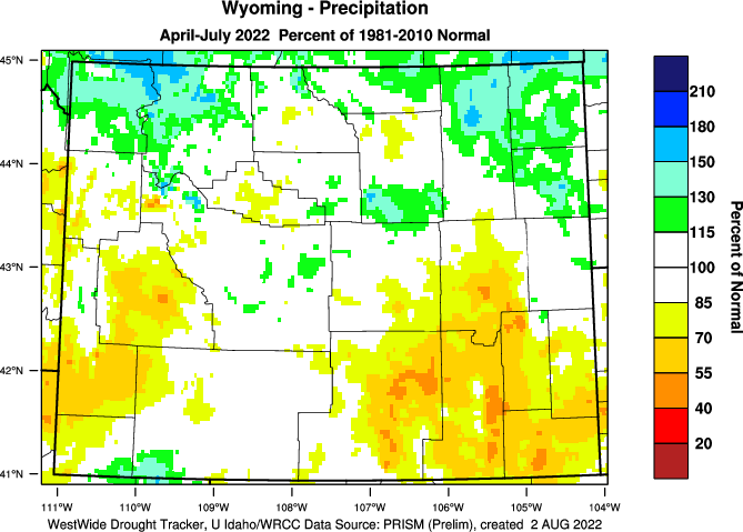 Wyoming: 2019 Percent of Normal Precipitation