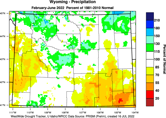 Wyoming: Water Year 2018-19 Percent of Normal Precipitation (Click to Enlarge)