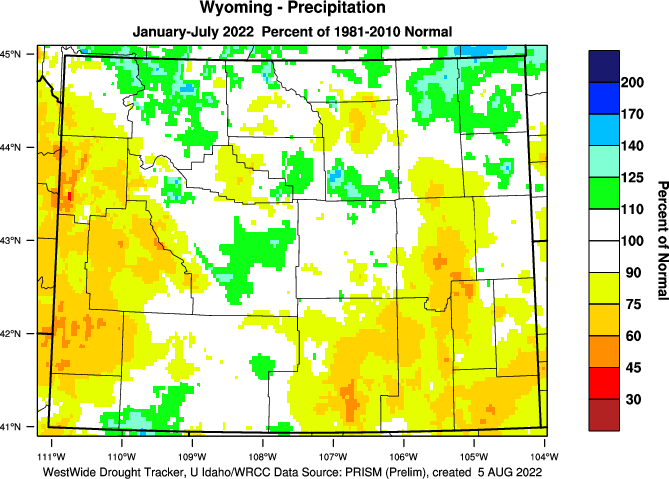 Wyoming: 2015 Percent of Normal Precipitation