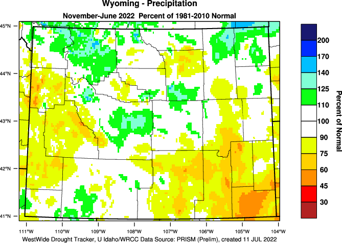 Wyoming: 2018 Percent of Normal Precipitation